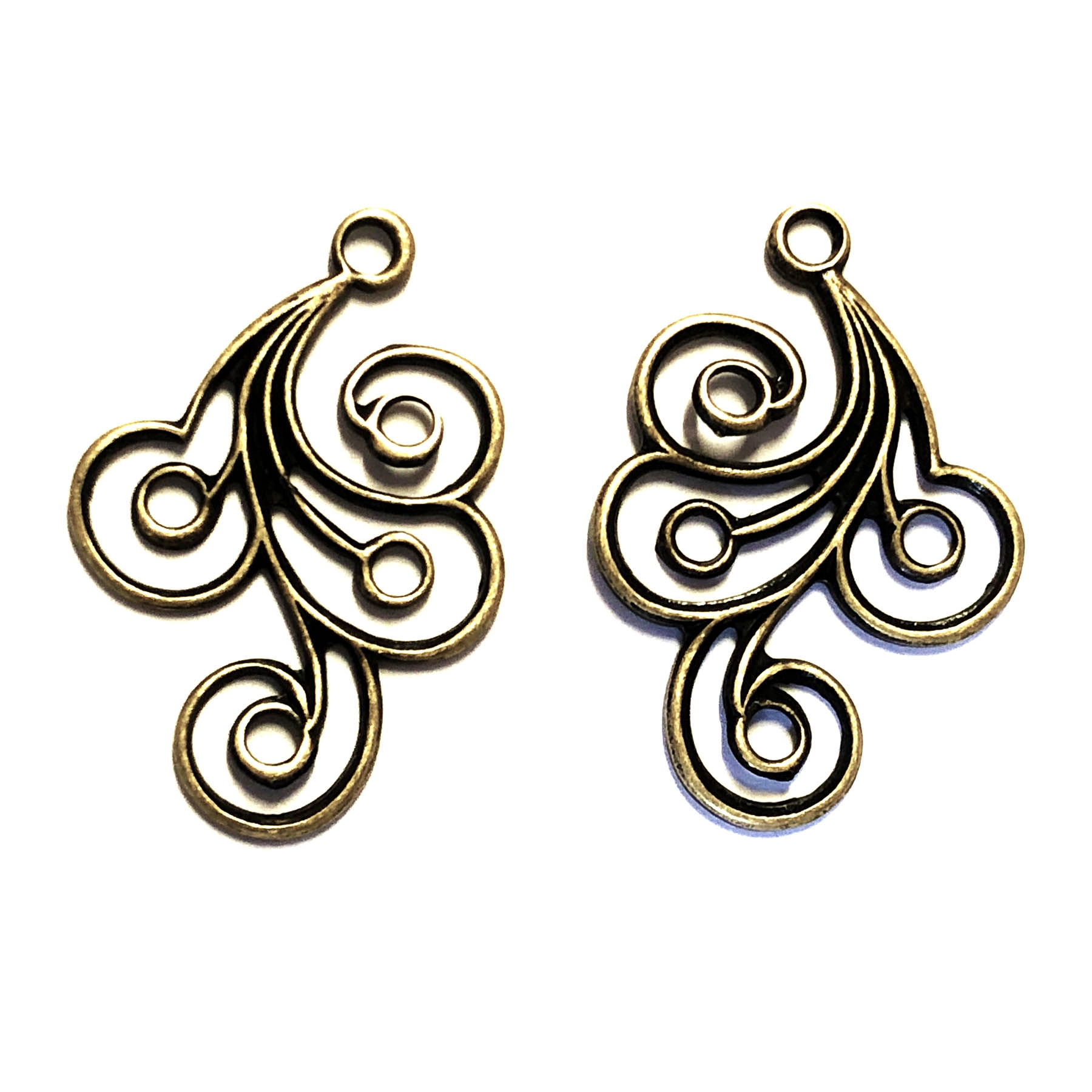 Spiral design drops, brass ox, anique brass, earrings, filigree, brass ear drops, drops, spiral design, brass filigree, earring finding, brass stamping, 30 x 21mm, 2 pieces, us made, nickel free, jewelry making, jewelry finding, vintage supplies, 02175