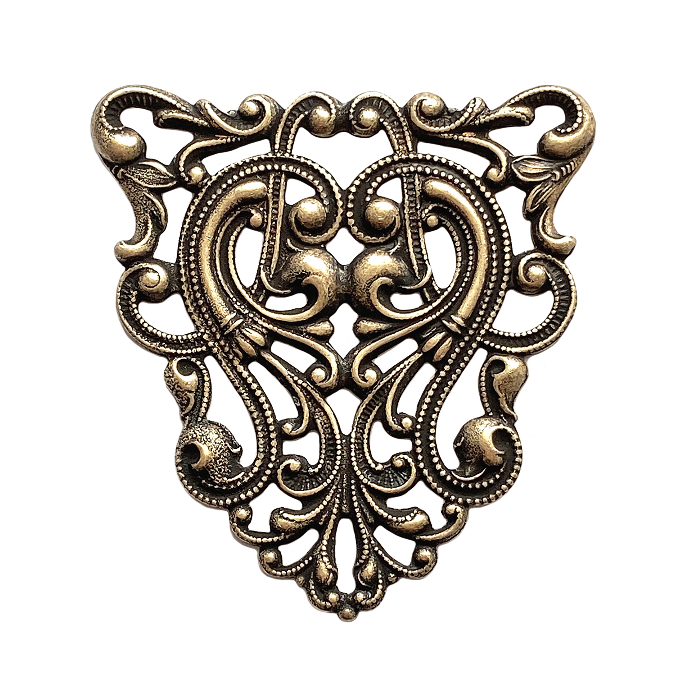 Art nouveau filigree, brass ox, antique brass, filigree, 40x37mm, brass stamping, connector, finding, US-made, nickel-free, jewelry making, jewelry supplies, vintage supplies, plated brass, brass filigree, design, jewelry findings, filigree stamping,02214