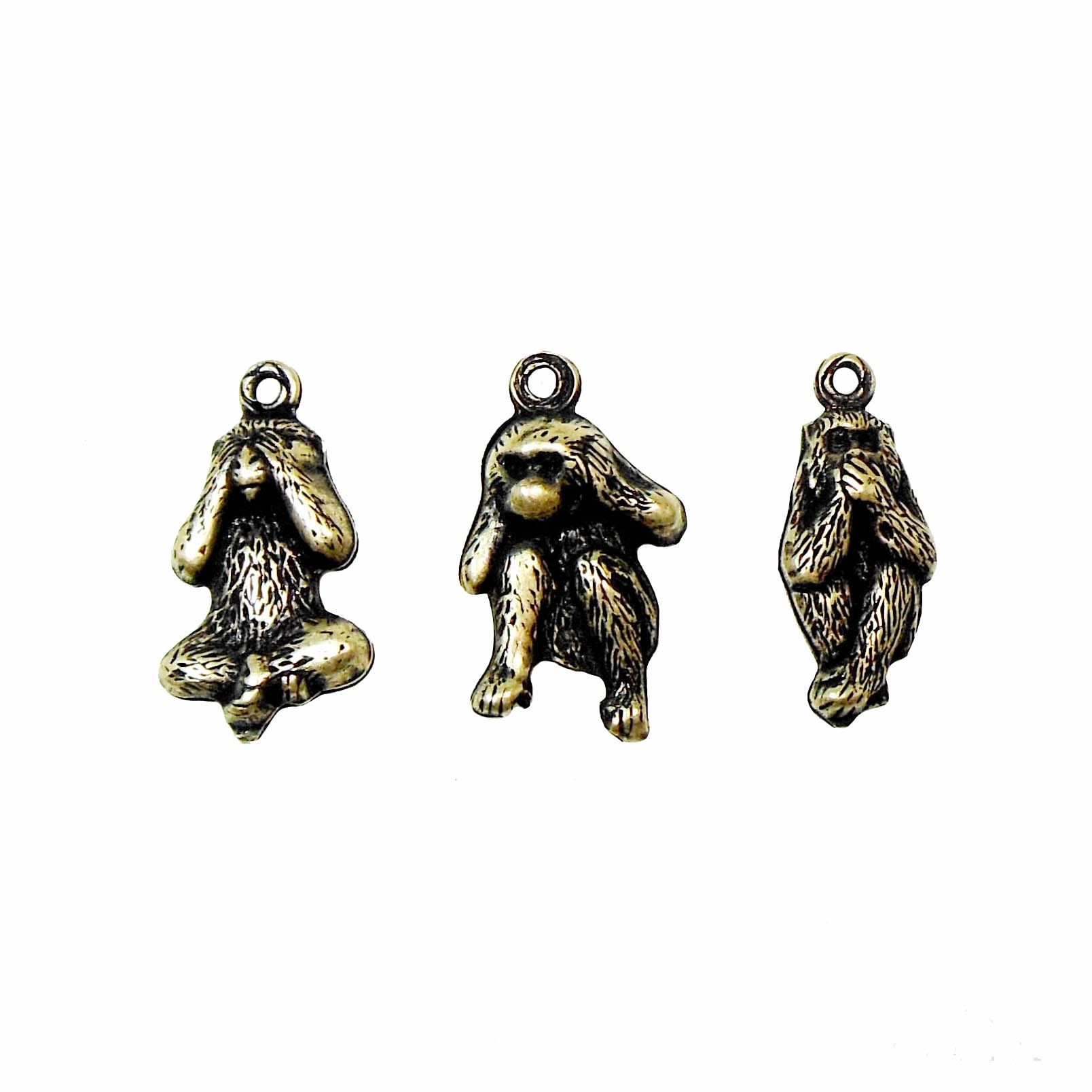 Brass Monkeys, See No, Hear No, Speak No, Brass Ox, Anitque Brass, Great detail, Puffy charms, 16mm, Set of 3, Monkeys, Charms, Brass Stamping, Jewelry Findings, Charm Accents, Pendent, Two Sided, us made, vintage, Nickel Free, B'sue Boutiques,02290