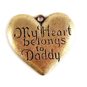 Heart, Brass Ox, My Heart Belongs to Daddy, 19 x 21mm