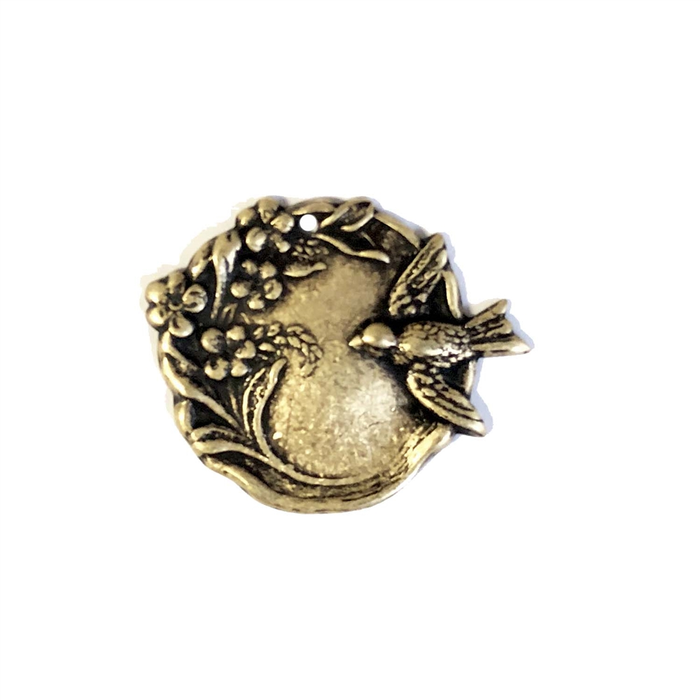 brass birds, bird jewelry, brass ox, 02487, antique brass, jewelry making supplies, vintage jewelry supplies, bird in the bush, brass stampings, US made jewelry supplies, nickel free jewelry supplies, bsue boutiques, bird charms, bird pendants