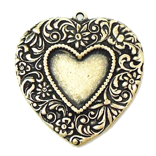 brass heart pendant, floral hearts, brass ox, 02547, antique brass, brass pendant, heart pendant, brass hearts, vintage jewelry supplies, jewelry making supplies, US made, nickel free jewelry supplies, floral heart charms, heart mount