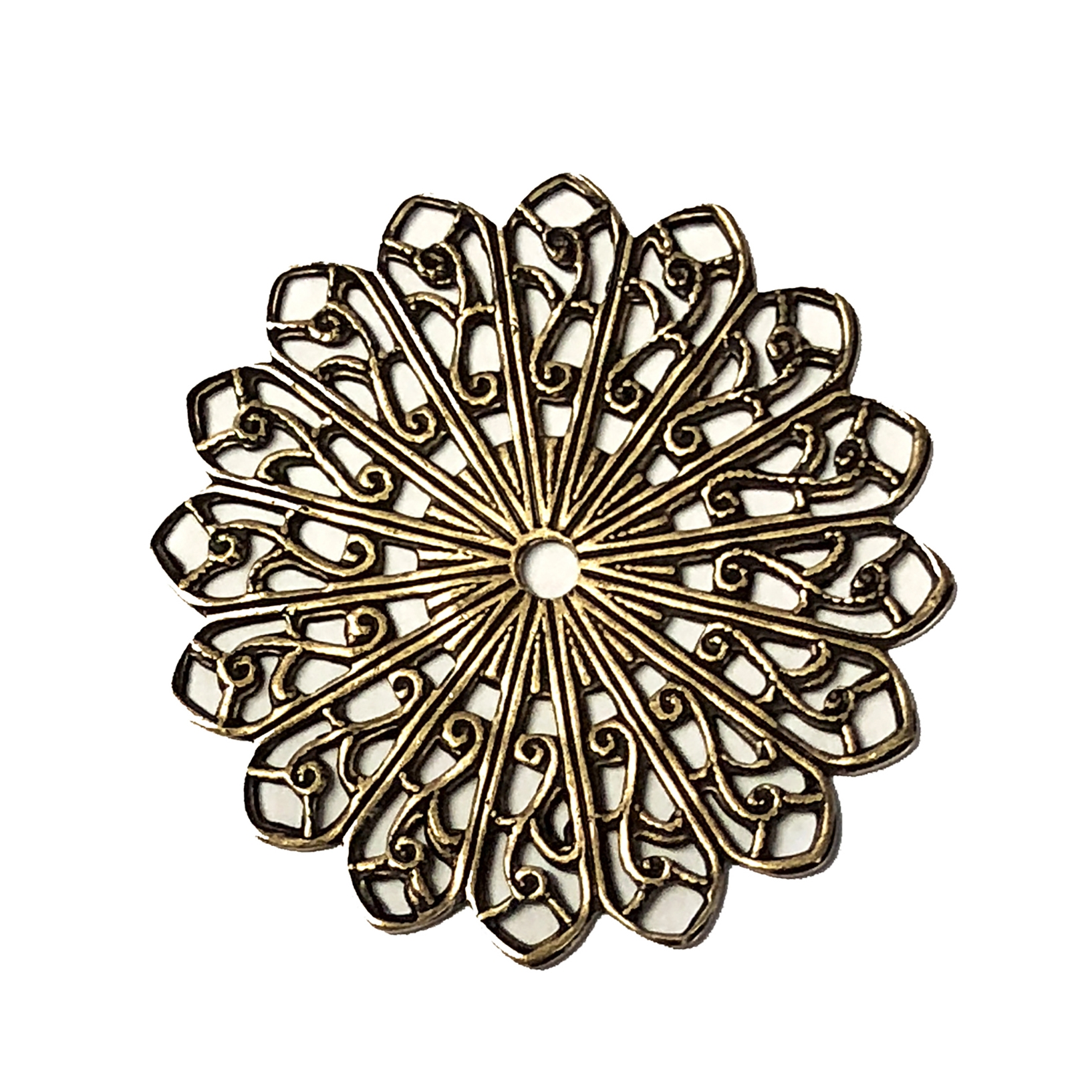 brass filigree, pinwheel style, brass ox, 02548, vintage jewelry supplies, jewelry making supplies, beading supplies, antique brass, brass findings, jewelry findings, US made jewelry supplies, nickel free, bsueboutiuqes
