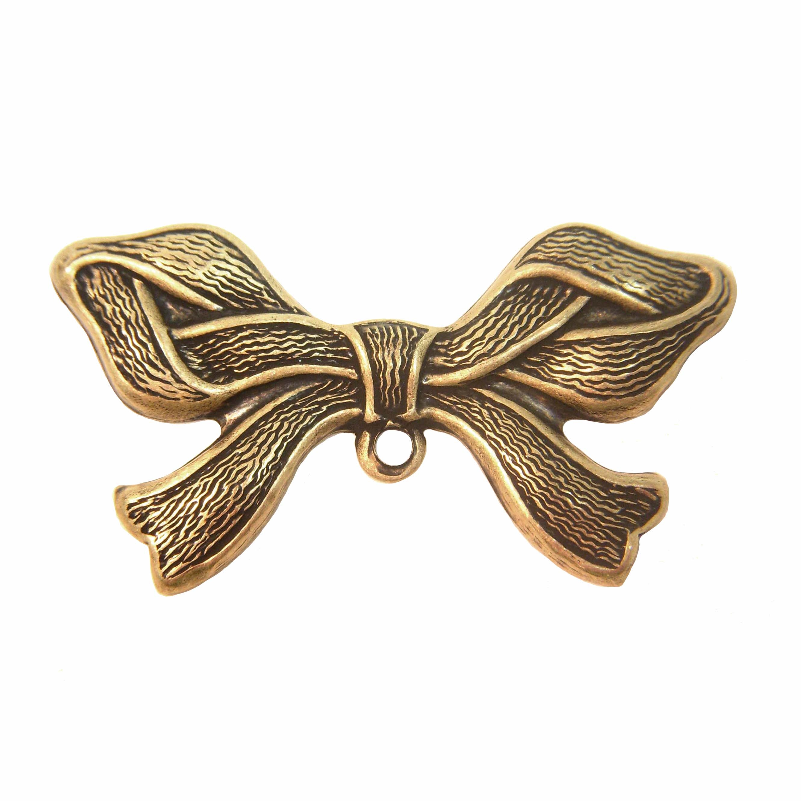 ribbon bow stamping, brass ox, antique brass, brass bow, bow ribbon, bow stampings, bow pendants, brass stamping, us made, nickel free, 22x42mm, ribbon bow, brass, stamping, jewelry making, jewelry supplies, vintage supplies, jewelry findings, 0258