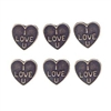 "Brass Stamping, Heart Charm, Brass Ox, ""I Love U""  Heart Charm, 10 x 10mm"