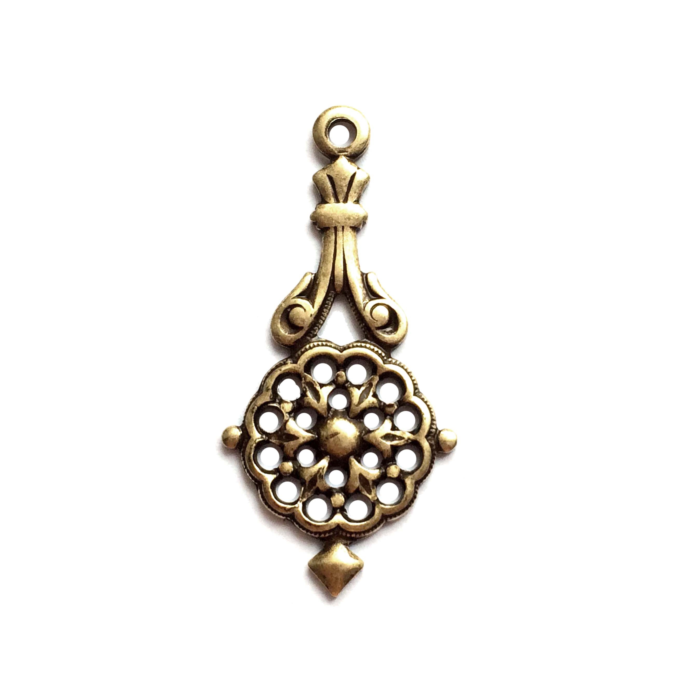 filigree ear drop, pendant, drop, filigree, brass ox, antique brass, ear drop, brass stamping, us made, nickel free, victorian style, stamping, filigree, 31x17mm, brass, jewelry making, jewelry findings, jewelry supplies, vintage supplies, 02891