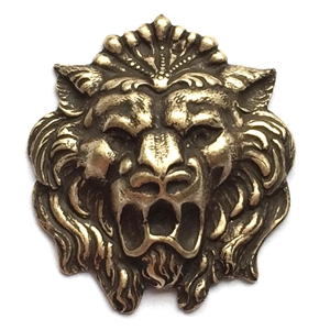 ferocious lion head, brass stamping, brass ox, lion, dapt, hollow back, animal, 27x24mm, head, nickel free, us made, jewelry findings, B'sue Boutiques, roaring lion, antique brass, brass, vintage supplies, jewelry supplies, 02899