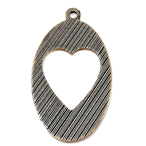 Brass Charms, Heart Charm, Heart Pendant, Brass Ox, Black Antiquing, 25 x 16mm