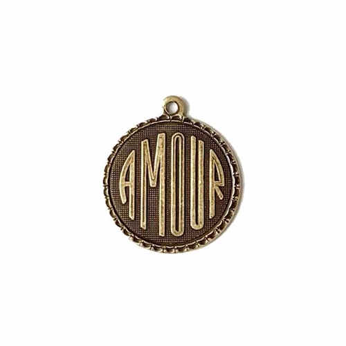 amour charm, brass ox, 19mm, antique brass, pendant, French, brass stamping, charm, french charm, us made, love charm, B'sue Boutiques, vintage supplies, jewelry supplies, jewelry findings, us made, nickel free, brass, stampings, love, 02969