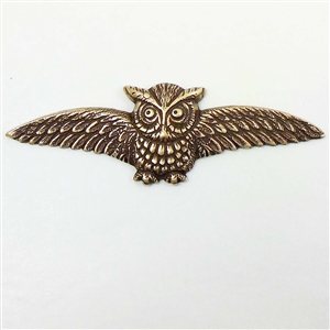 brass owl, owl stampings, brass ox, 03065, vintage jewelry supplies, jewelry making supplies, brass jewelry parts, bird jewelry, owl jewelry, antique brass, US made, nickel free jewelry supplies, bsueboutiques