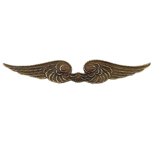 steampunk wings, brass ox, brass stamping, wings, antique brass, brass, stamping, victorian wings, victorian, wing, steampunk, us made, nickel free, double wings, flat back, feather detail, 9x57mm, pendant, jewelry supplies, vintage supplies, 03070