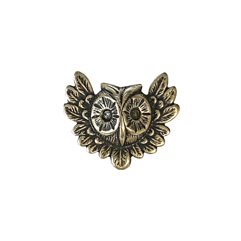 feathery owl, brass stamping, brass ox, brass, owl, flying owl, antique brass, animal, B'sue Boutiques, 26x31mm, nickel free, US made, jewelry making, jewelry supplies, hollow back stampings, mold making, vintage supplies, jewelry findings, 03108