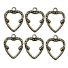 backless heart charms, set of 6, brass stampings, brass ox hearts, 03117, jewelry making supplies, vintage jewelry supplies, nickel free, US made, b'sue boutiques, heart pendants, 18x14mm, brass charms, heart bezels