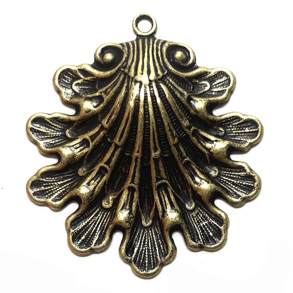 seashell stamping, brass ox, seashell, brass ox shell, seashell pendant, seashell jewelry, 48x43mm, beach jewelry, antique brass, jewelry supplies, vintage supplies, jewelry making, US made, B'sue Boutiques, 03129