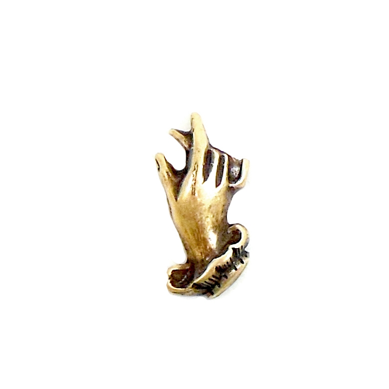 Gloved Hand, Brass Stampings, Jewelry Supplies, Brass Ox, 17 x 9mm