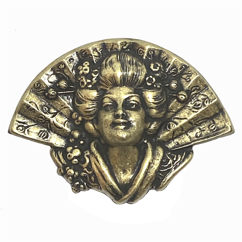 geisha with fan, brass ox, brass stamping, fan, geisha girl, geisha, brass, 39x54mm, hollow back, lady, stamping, us made, nickel free, B'sue Boutiques, jewelry making, jewelry supplies, vintage supplies, jewelry findings, girl, 03227