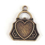 Little purse charm with heart, heavy brass, US Made, vintage style, flat on the back, nicely weighted, brass ox with black antique, nickel free, Top hanging, 15x14mm, brass ox, purse, charm, 03273