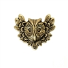 feathery owl, brass stamping, brass ox, brass, owl, flying owl, antique brass, animal, B'sue Boutiques, 26x31mm, nickel free, US made, jewelry making, jewelry supplies, hollow back stampings, mold making, vintage supplies, jewelry findings, 03566