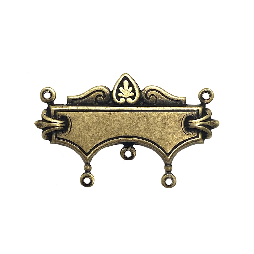 Victorian blank centerpiece, pendant, brass ox, Victorian style, antique brass, centerpiece, blank center, focal pendant, 19x37mm, jewelry making, jewelry supplies, B'sue Boutiques, US-made, nickel-free, jewelry centerpiece, 03569, brass stamping