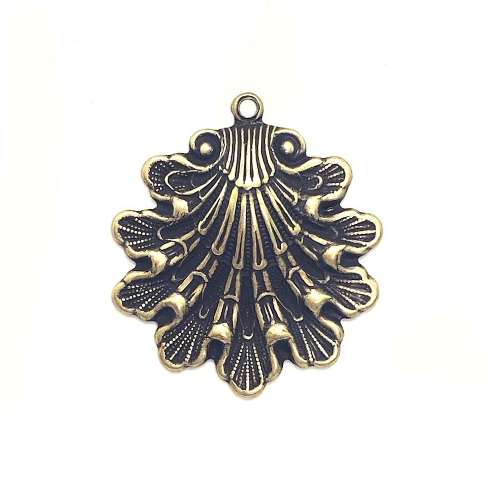 shell stamping, brass ox, antique brass, pendant, shell pendant, pendant style, shells, sea shell jewelry, sea shells, 29x26mm, hollow back, brass, sea shell pendant, jewelry making, vintage supplies, jewelry supplies, B'sue Boutiques, 03618