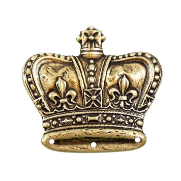 brass crown, antique brass, 33 x  36mm
