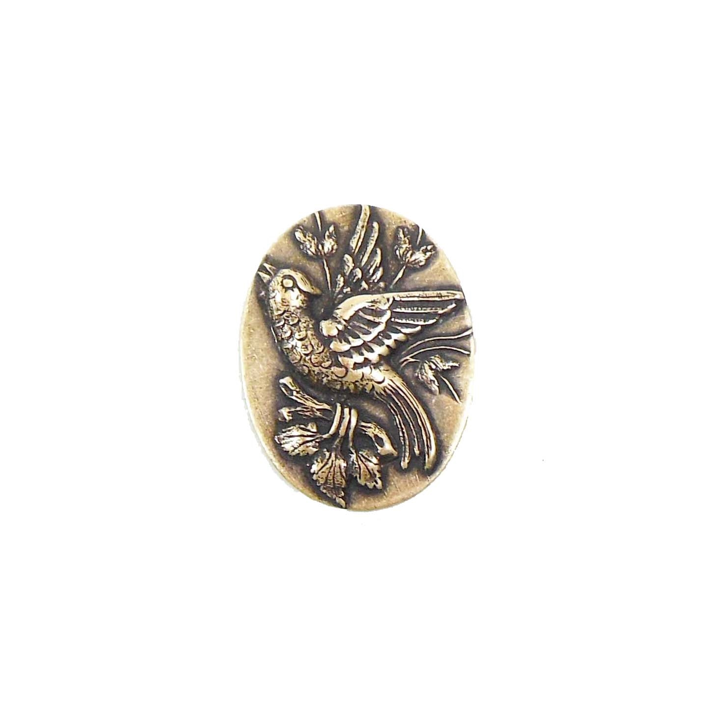 bird of paradise stamping, birds, brass ox, antique brass, brass, bird, paradise, brass stamping, raised bird, floral accents, 22x16mm, bird jewelry, us made, nickel free, B'sue Boutiques, vintage supplies, jewelry supplies, jewelry findings, 03631
