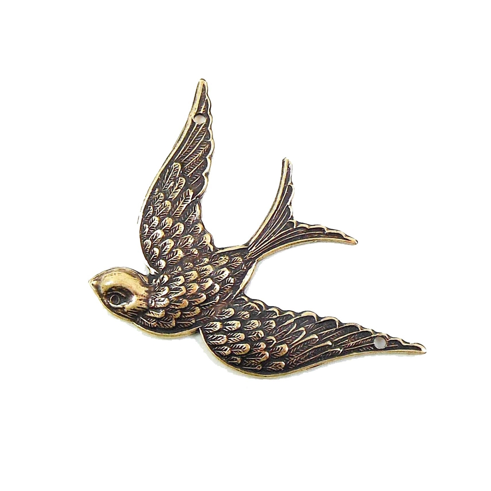 brass bird, bird pendant, brass ox, antique brass, jewelry making supplies, bird jewelry, vintage jewelry supplies, US made, nickel free, bsueboutiques, bird in flight, bird connector