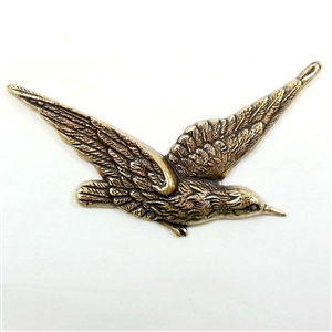 Brass Bird, Antique Brass, 1.25 x 2.50 Inches