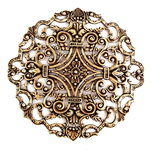 filigree compact top, brass ox, filigree, compact top, vintage style, victorian style, antique brass, brass, brass stamping, stamping, nickel free, 83mm, US made, jewelry making, jewelry supplies, vintage supplies, B'sue Boutiques, jewelry findings, 03706