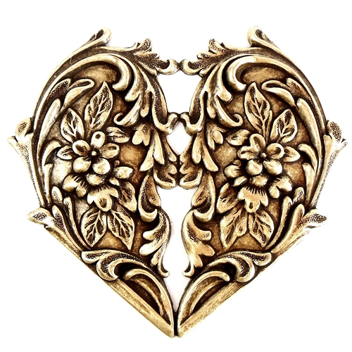 brass hearts, floral hearts, Victorian jewelry, ab