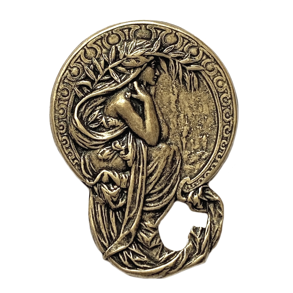 alphonse mucha, brass ox, brass stamping, brass, antique brass, lady, vintage style, us made, nickel free, B'sue Boutiques, Grecian lady, 45x33mm, stamping, elegant lady, vintage supplies, jewelry supplies, jewelry making, jewelry findings, 04171