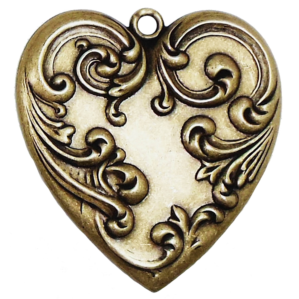 brass heart pendant, hearts, brass ox, 04250, jewelry making supplies, heart jewelry, Victorian hearts, bsueboutiques, B'sue, antique brass, heart pendants, vintage jewelry supplies,brass hearts, floral hearts, floral pendants