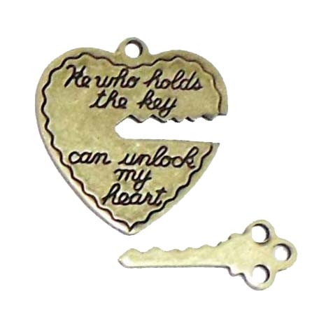 heart and key charm, heart charm, brass ox, 04282, antique brass, sentiment hearts, vintage jewelry supplies, brass jewelry parts, jewelry making supplies, heart and key pendants