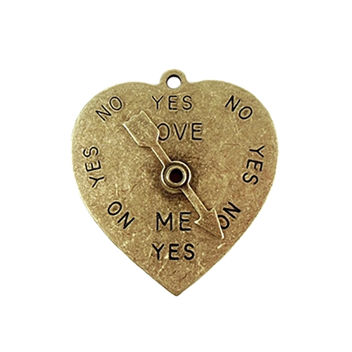 spinner heart pendant, brass ox, 04499 brass pendants, yes no spinner heart, antique brass, vintage jewelry supplies, jewelry making supplies, US made, nickel free, Bsue Boutiques