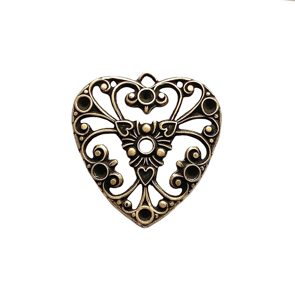 filigree heart charm, brass ox, pendant, antique brass, filigree, heart, charm, set stones, brass stamping, heart filigree, brass, us made, nickel free, B'sue Boutiques, 27x26mm, brass base, jewelry making, jewelry supplies, vintage supplies, 04744