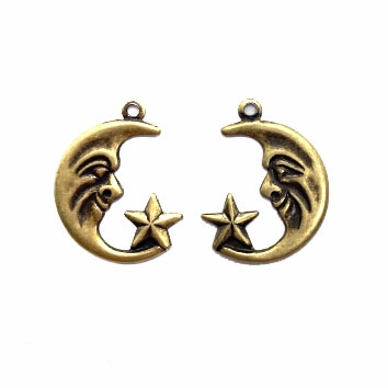 crescent moon, man in the moon, 04858, right and left, pair, embellishments, moon, lunar, sky, moon faces, brass ox, B'sue Boutiques, jewelry supplies, moon and star charms, charm, pair, earrings