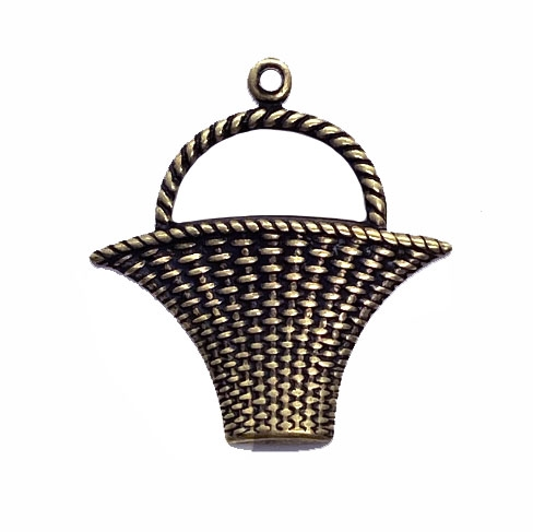 weaved basket stamping, pendant, brass ox, antique brass, basket stamping, basket weaving,  jewelry making, jewelry supplies, stamping, vintage supplies, US-made, nickel-free, basket, B'sue Boutiques, jewelry basket, 28 x 35mm, 04912