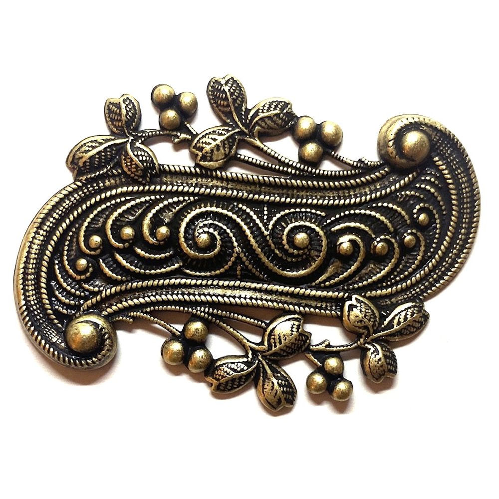 brass stampings, jewelry making, brass ox, 06802, scroll stampings, black antiquing, jewelry supplies, leaf border design, brass jewelry parts, B'sue Boutiques, nickel free, US made, vintage jewelry supplies