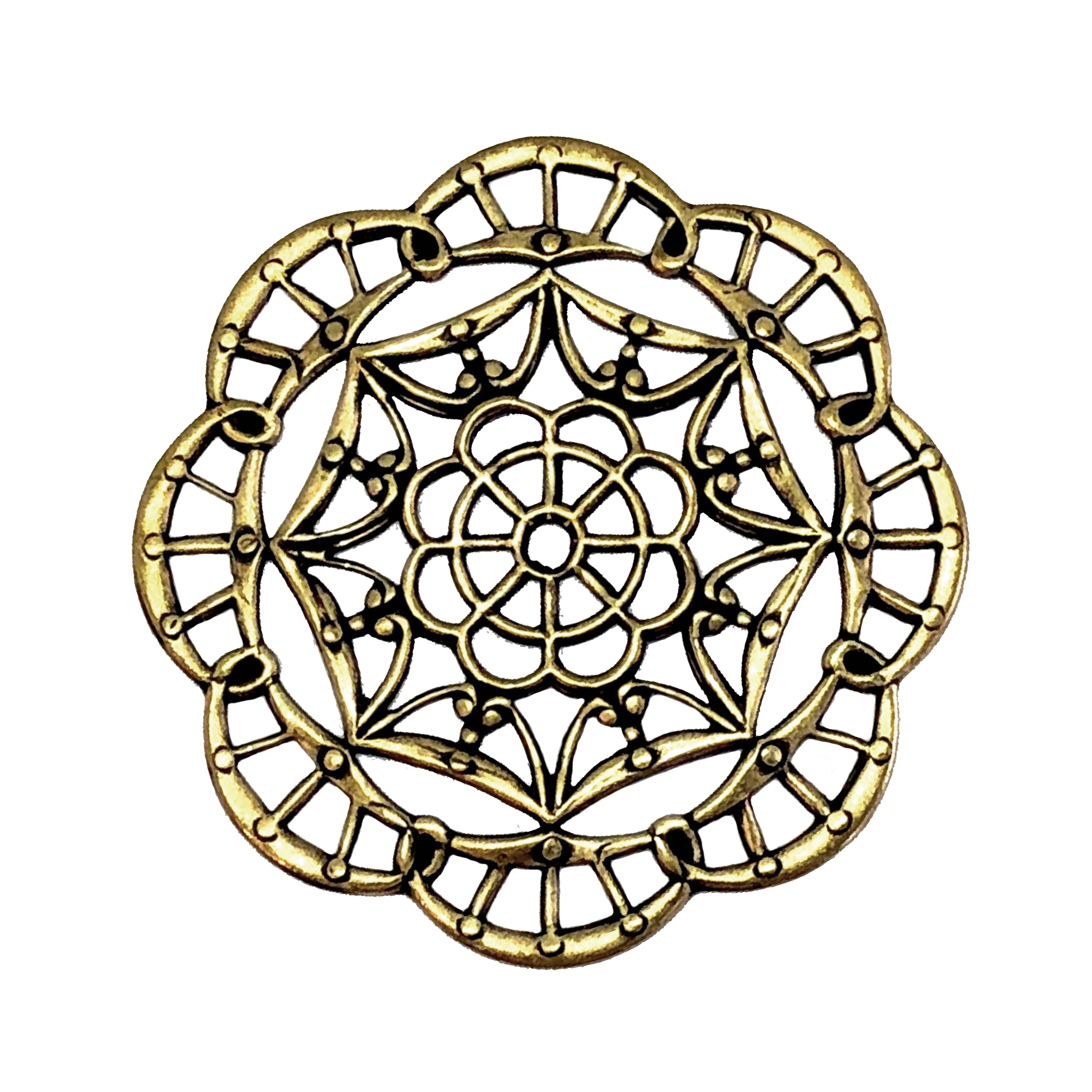 brass filigree, web filigree, brass ox, 40mm