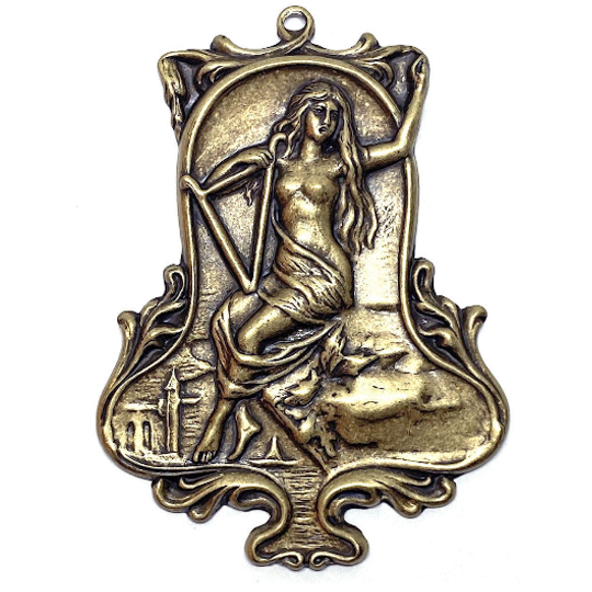 ancient roman lady stamping, lady with harp, brass ox, antique brass, victorian, lady, brass stamping, 66 x 48mm, harp lady, us made, nickel free, floral, stamping, lady stamping, jewelry making, jewelry supplies, vintage supplies, jewelry findings, 05061