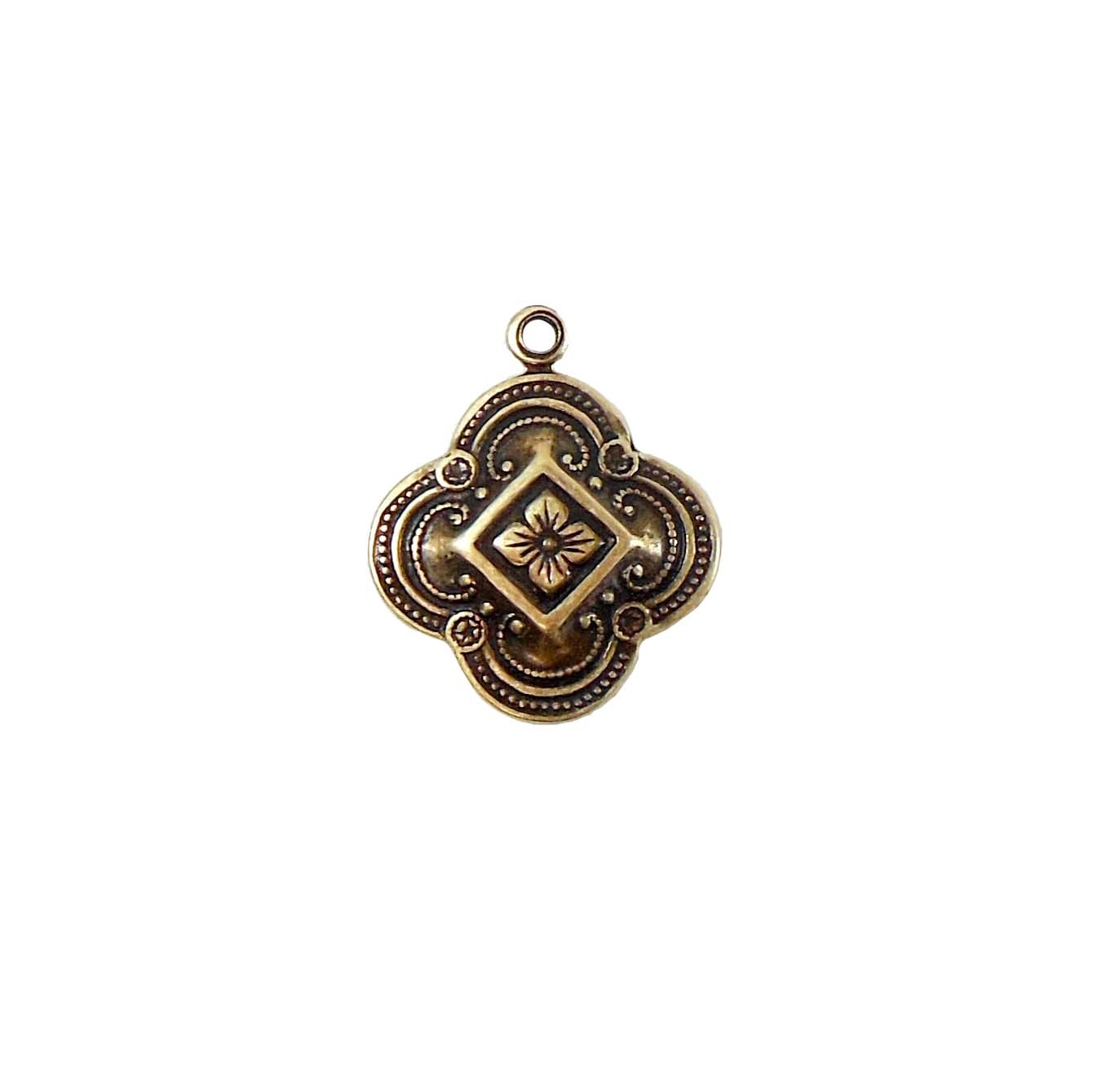 Brass Charm, Victorian Design, Drop, Brass Ox, Ear Drops, Charm, Floral Design, Vintage Style Drops, Antique Brass, Jewelry Findings, Nickel Free, Brass Stamping, Charm Accents, Made in USA, 15mm, Vintage, Victorian, Style, B'sue Boutiques, Pendent, 05103