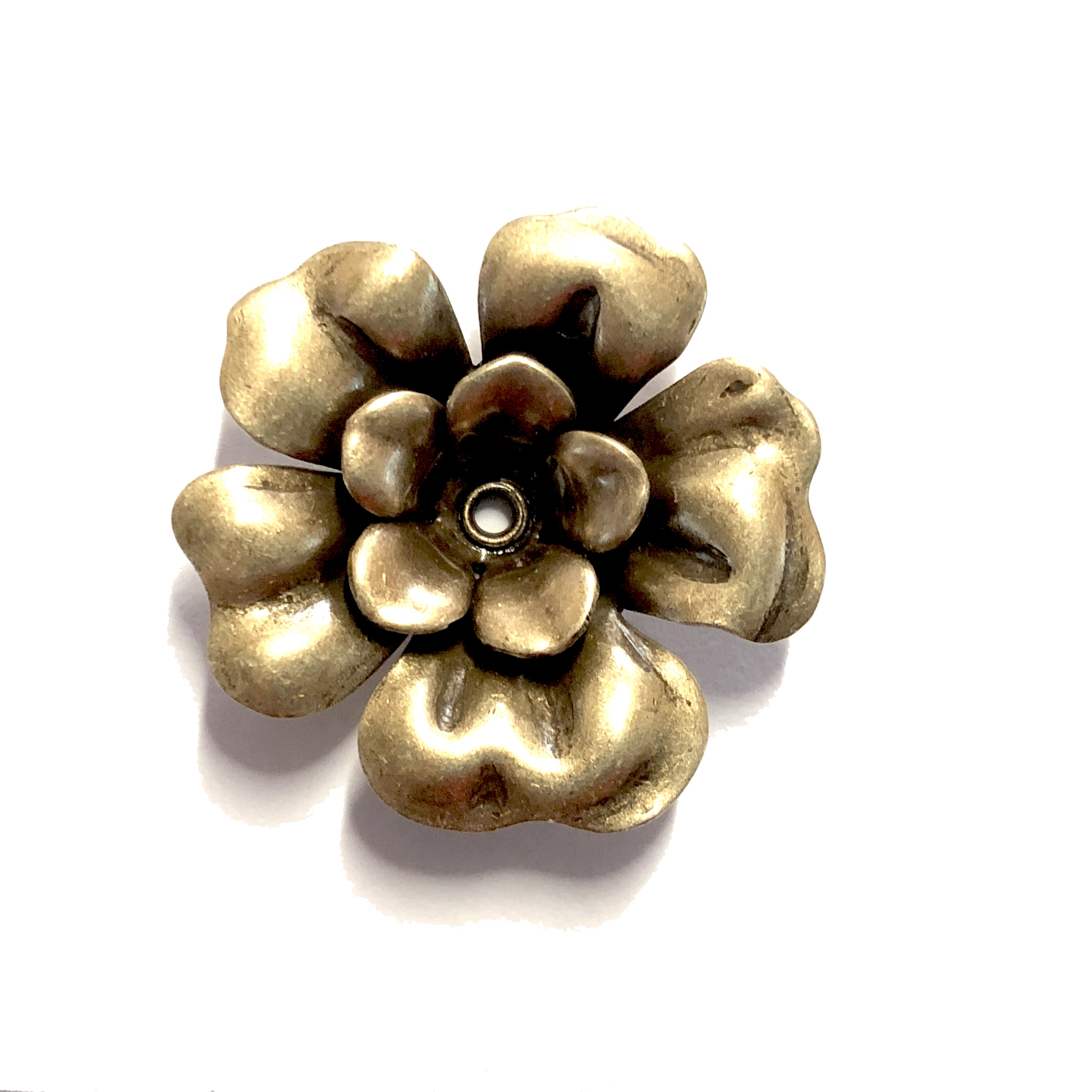 brass rose, brass ox, two layers, antique brass, vintage, brass, brass stamping, flower, rivet, tea rose, 28mm, flower jewelry, rose jewelry, us made, vintage style, nickel free, jewelry making, vintage supplies, jewelry supplies, jewelry findings, 05192