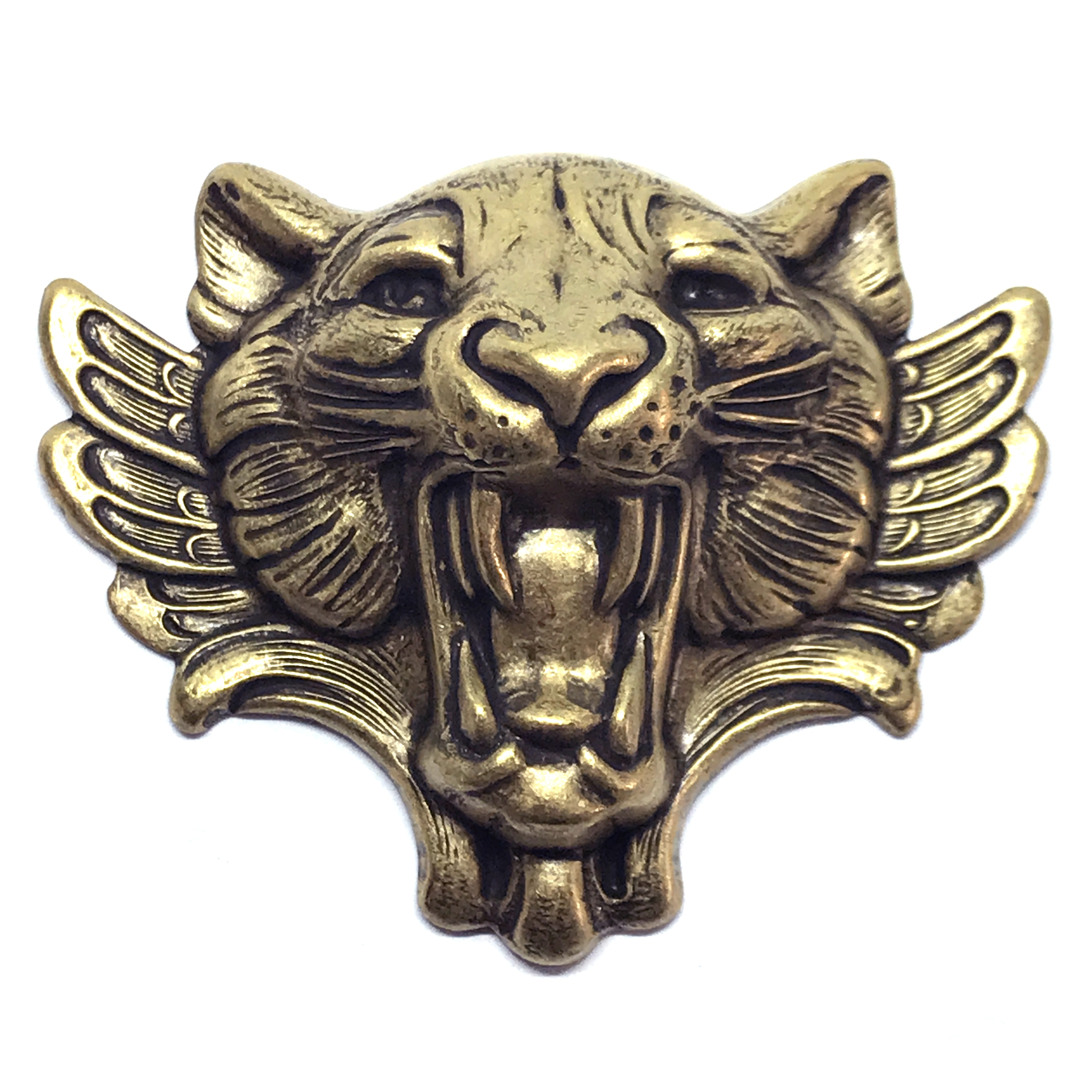 brass tiger, brass stampings, jungle cat, brass ox, 05306, antique brass, jewelry making supplies, vintage jewelry supplies, US made, nickel free, bsueboutiques, 54x66mm