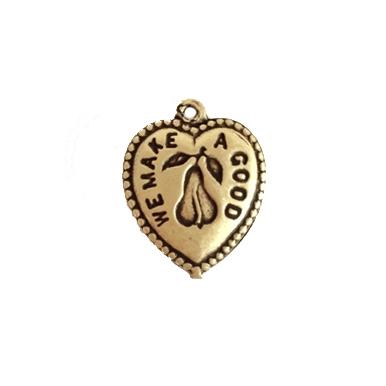 Heart Charm, We Make A Good Pair, Brass Ox, Puffy Charm, Brass Stamping, Two Sided, Pendent, 19 x 16mm, Jewelry Findings, Charm, Heart, Nickel Free, Made in USA, B'sue Boutiques, 05369