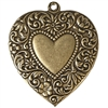 floral heart pendent, brass ox, heart, pendent, antiques brass, floral heart, brass, 54x46mm, floral, double sided, us made, nickel free, B'sue Boutiques, vintage supplies, jewelry making, jewelry supplies, heart pendent, heart jewelry, 0571
