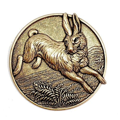 Rabbit, plaque, bsue, brass ox, 05715, nature scene, critters, animal, critter, animals, bunny, rabbits, 51mm, jewelry making, jewelry supplies, bsue boutiques, vintage, vintage supplies, antique brass