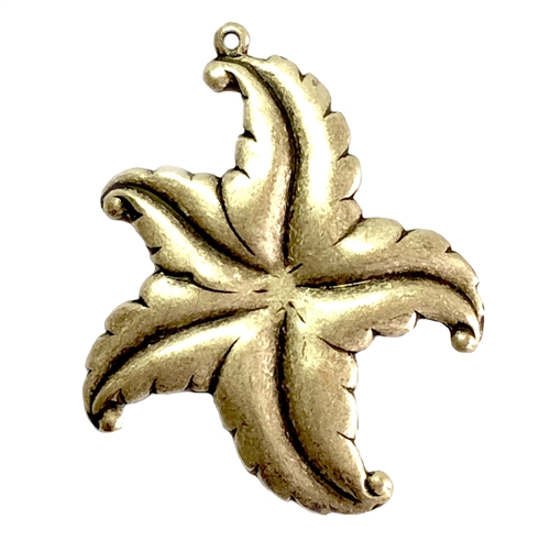 brass starfish, beach jewelry, brass ox, 42x36mm, 05716, B'sue Boutiques, pendant, starfish pendants, vintage jewelry supplies, jewelry making supplies, antique brass, brass ocean stampings, beach
