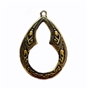 vintage pendant drop, tear drop style, 05725, vintage jewelry supplies,  jewelry making supplies, brass ox, US made, nickel free, keyhole design, victorian, b'sue boutiques