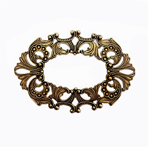 wreath, leafy wreath, jewelry plaque, 05729, B'sue Boutiques, nickel free jewelry, US made jewelry, vintage jewellery supplies, jewelry making supplies, beading supplies, brass ox, plaque