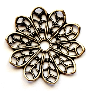 beading flower filigree, filigree, Haskell style, antique brass, Haskell finish, brass stampings with Haskell finish, beading, beading filigree, plated brass, old jewelry parts, brass stampings, learn to make jewelry, brass filigree, brass ox, 0573